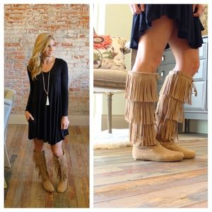 Tan Fringe Moccasin Lace Up Boots