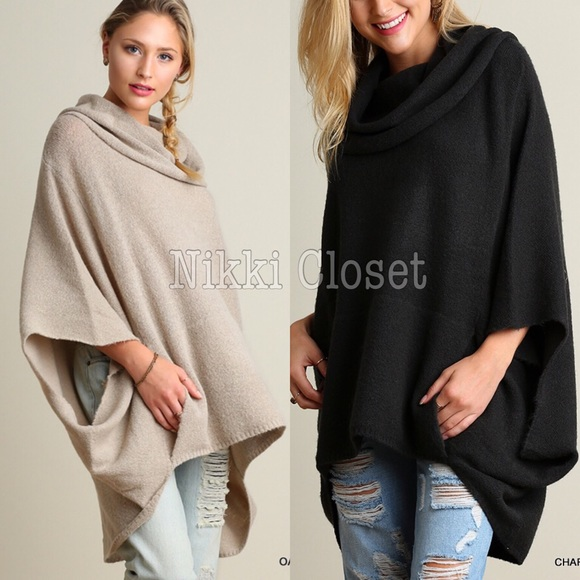 96% off boutique sweaters - plus size oversized poncho cape style