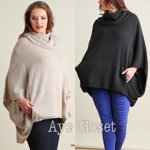 Boutique Sweaters - Plus size oversized poncho style sweater charcoal