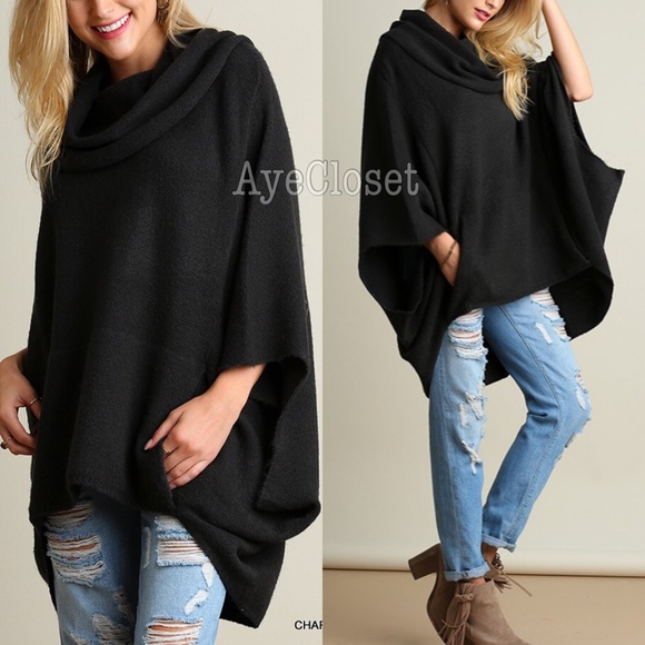Boutique - Plus size oversized poncho style sweater new sexy from ...
