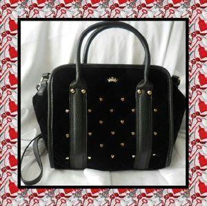 Juicy Couture Black Velour Crossbody Satchel Bag
