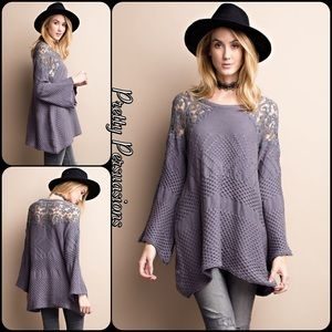 Pretty Persuasions Sweaters - SALE🎉Bell Sleeve Lace Accented Cozy Sweater Tunic