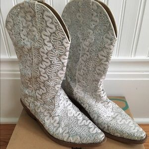 Roper Shoes - Roper White Sparkle Western Boot, size 5.5