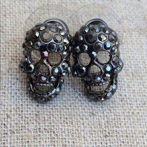 Black Crystal Skeleton Skull Stud Earrings