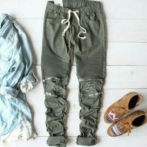 American Bazi Pants - Olive Moto Pants