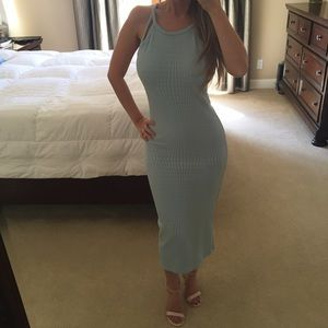 Body con cut out open shoulder strap midi dress