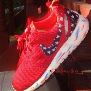 3b52ff3d15176 Custom Red Nike Roshe American Flag Marble Sole
