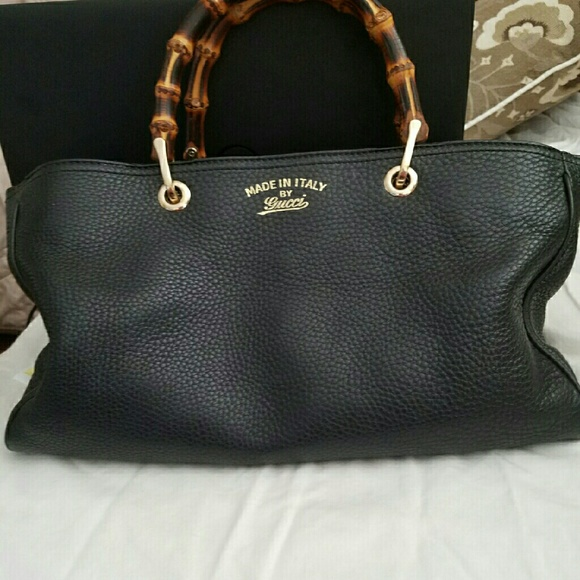 66fa1b82c Gucci Bags | Bamboo Handle Leather Large Tote | Poshmark