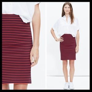 madewell // striped downtown skirt • red