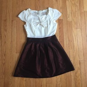 Maroon and cream holiday dress