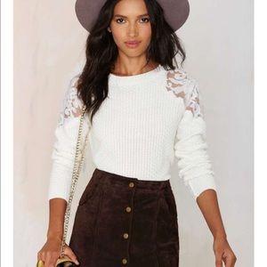 Nadia Organza Patch Sweater - White