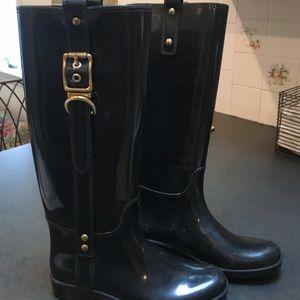 Coach Shoes - Coach Tasha black rain boots with gold hardware