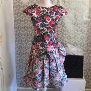 Authentic Original Vintage Style Dresses & Skirts - Vintage floral print ruffled dress