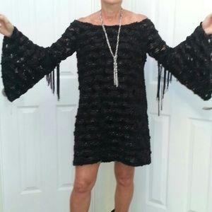 Voom by Joy Han Dresses & Skirts - Black Sparkle Boho Bell Sleeve/Fringe Dress