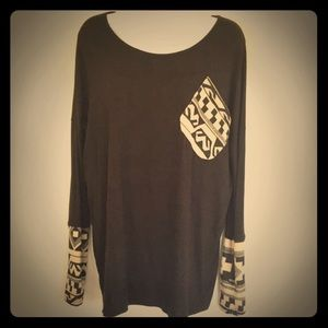 Tops - Long Sleeve Black Tribal Top with Thumb Holes