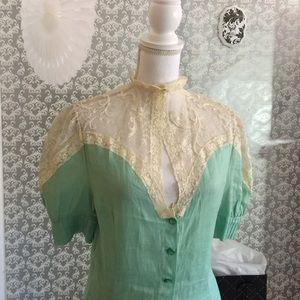 Authentic Original Vintage Style Tops - Vintage mint/cream laced two piece set