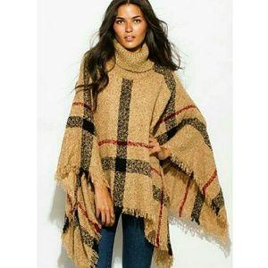 Sweaters - New Plaid boho knit turtleneck poncho