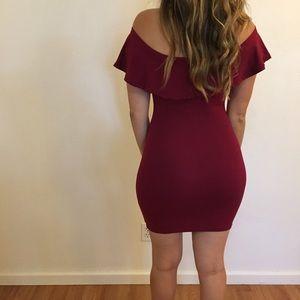 Dresses & Skirts - Burgundy Ruffle Off The Shoulder Dress