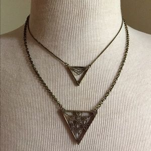 Double strand triangle necklace