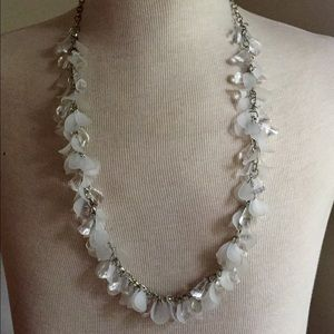 Statement necklace white beaded