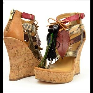 Two Lips Shoes - New Two Lips feather cork wedge sandal