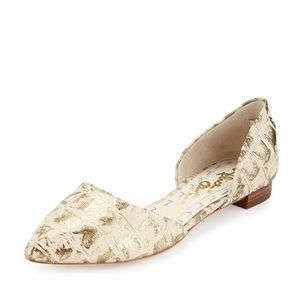 Alice + Olivia Gold Stamped D'orsay Flats