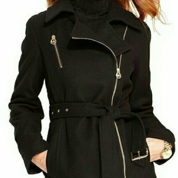 f728afd7d94 Michael Kors Asymmetrical Belted Wool Blend Coat. M 580a92a12de512239201f609