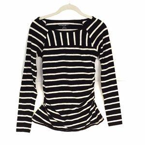 Liz Lange MATERNITY top.  Black and white stripe.