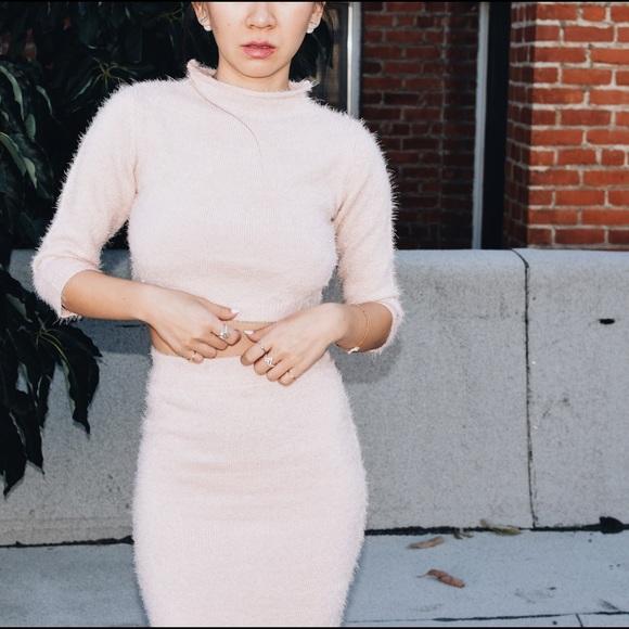 58dbefd309b6 Lulu's Dresses & Skirts - LuLu's Fuzzy Blush Pink Two-Piece Sweater Dress