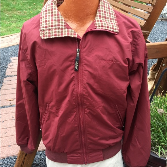 Ll Bean Flannel Lined Warm Up Jacket Mens Small
