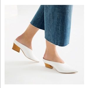 PRICE DROP Zara leather mule shoes white