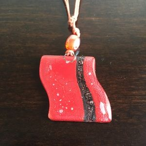 Red and Black Art-Glass Pendant Necklace