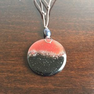 Black and Brown Art-Glass Pendant Necklace