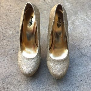 Charlotte Russe size 8 Gold glitter heel