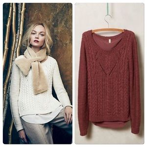 Amthropologie Cabled Ella Pullover