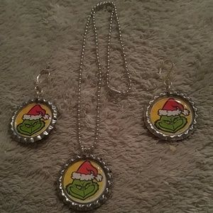 The GRINCH Bottlecap Necklace & Earrings Set