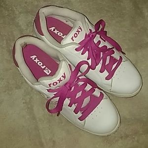 Pink & white Roxi sneakers. Size 10. Like new.