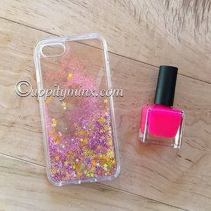 🆕 IPhone 7 Pink Stars Liquid Glitter Case