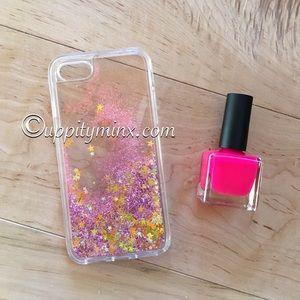 🆕 IPhone 7 Pink Stars Liquid Glitter Case