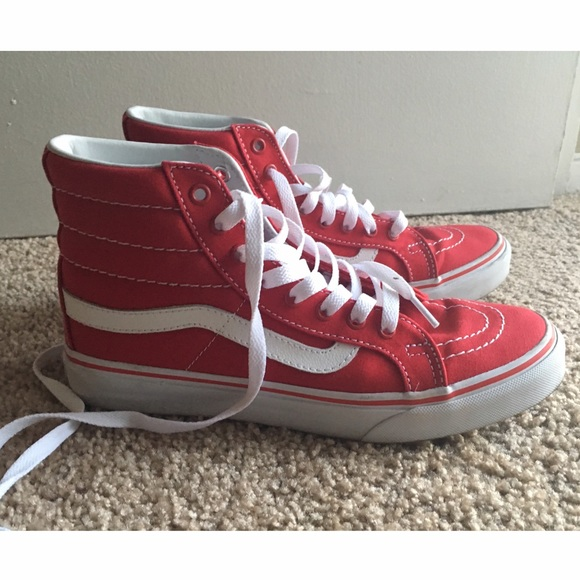 ed2d5415fc Vans Shoes - Red Vans Sk8-Hi Slim