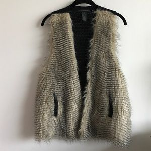 Grace Elements Jackets & Blazers - Faux fur vest with woven back