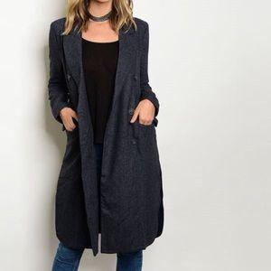 Blue Color Block Wool Coat