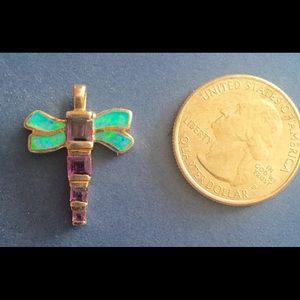 Jewelry - SALE!Opal/Amethyst Sterling Silver Dragonfly