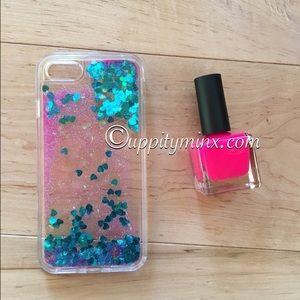 🆕 iPhone 7 Blue + Pink Liquid Glitter Case