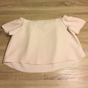 Topshop PETITE Tops - TOPSHOP Petite Bardot Top in Blush