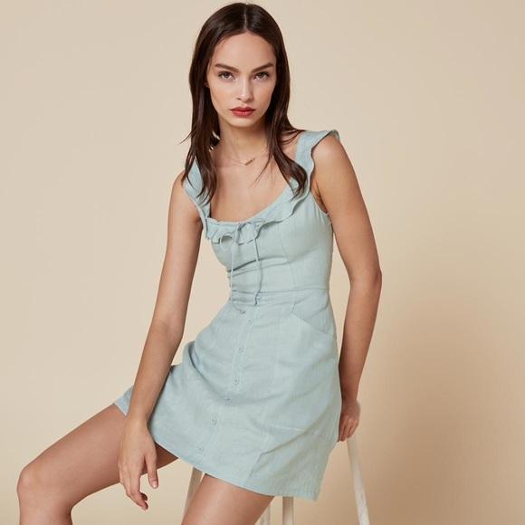 73c2f773294 SALE💥Reformation Julita linen sky blue dress. M 580ab2872ba50a6a25024657
