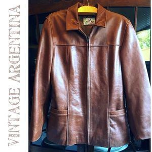 ARGENTINA Vintage Leather Detailed Coat OMGEEE