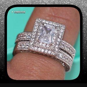 🆕2pc 14k White Gold Filled Topaz Ring Set
