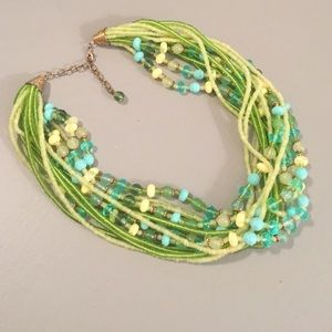 Beautiful beaded green and aqua statement necklace