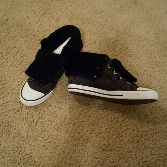 Black Coach High Top Fold Over Sneakers